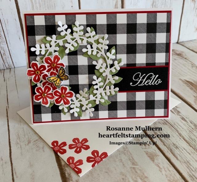 Stampin Up Arrange a Wreath Hello Card Idea - Rosanne Mulhern stampinup