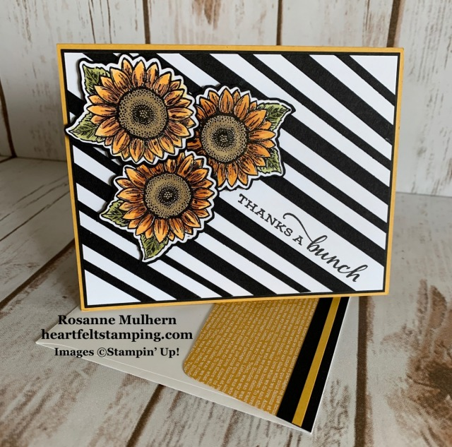Stampin Up Celebrate Sunflowers Thank You Card Idea -Rosanne Mulhern stampinup