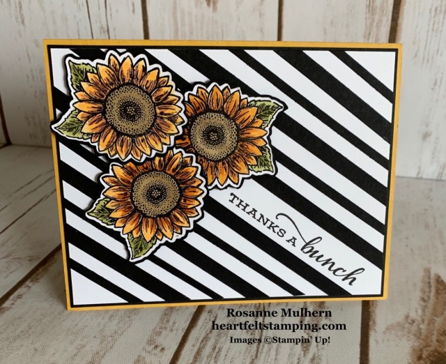 Stampin Up Celebrate Sunflowers Thank You Card Ideas - Rosanne Mulhern stampinup