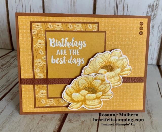 Stampin Up Tasteful Touches Birthday Card Idea- Rosanne Mulhern stampinup